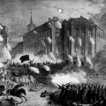 Für die Freiheit, gegen die Monarchie: Barrikadenkampf in Berlin im März 1848.