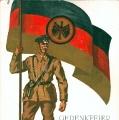 """Das Reichsbanner veranstaltet 1928 eine Gedenkfeier zum 80. Jahrestag der Revolution und betont damit die Tradition von """"Schwarz-Rot-Gold"""" als Farben der demokratischen Bewegung."""