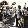 Eine um 1895 entstandene Karikatur wirbt für das Allgemeine Wahlrecht. Links neben der Freiheitsgöttin: Ferdinand Lassalle (stehend) und Karl Marx (sitzend).