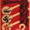 Reichstagswahl 1932: SPD-Plakat gegen Krone, Hakenkreuz und Sowjetstern.