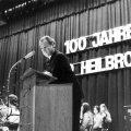 In Heilbronn wird 1974 das 100-jährige Bestehen gefeiert. Der SPD-Vorsitzende Willy Brandt spricht als Ehrengast.
