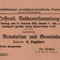 Der Ortsverein Berlin-Wilmersdorf der USPD ruft zur Teilnahme an einer öffentlichen Versammlung auf.