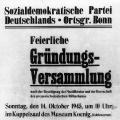 Nach dem Ende des Zweiten Weltkriegs konstituiert sich der Ortsverein Bonn neu.
