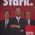 """Die neue """"Troika"""" der SPD, nach hartem Richtungsstreit kandidiert Scharping 1994 als Bundeskanzler, …"""