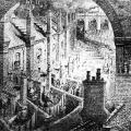Londoner Elendsquartiere im ausgehenden 19. Jahrhundert: In den Industriezentren sind die sogenannten Cottages die am weitesten verbreitete Wohnform der Fabrikarbeiter.