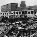 Alliierte Bombenangriffe in Essen: Während des Zweiten Weltkriegs werden weite Teile der Fabrikanlage der Firma Krupp zerstört.