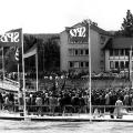 """Die """"Baracke"""" ist weg! Grundsteinlegung für den Neubau im Juni 1974."""