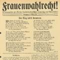 Frauen kämpfen schon seit dem 18. Jahrhundert für ihr Wahlrecht. Hier eine Schrift von Clara Zetkin, die am 8. März 1914 veröffentlicht wurde und...
