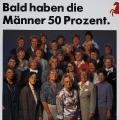 Zur Landtagswahl 1990 in Niedersachsen schickte die SPD zahlreiche Kandidatinnen ins Rennen. Der Slogan spielte auf die zwei Jahre zuvor eingeführte Frauenquote für Gremien und Kandidatenlisten an.
