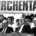 Evangelischer Kirchentag in Düsseldorf 1985: Das politische Handeln von Rau wird durch seinen christlich-protestantischen Glauben geprägt.