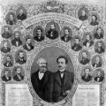 Nicht zugegen und doch präsent: Karl Marx und Ferdinand Lassalle an prominenter Stelle auf dem Tableau des SPD-Parteitags in Gotha 1875.