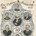Zu den Befreiern des Proletariats gehört 1913 selbstverständlich auch Karl Marx. Jubiläumspostkarte zum 50. Gründungsjahr der deutschen Sozialdemokratie.
