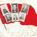 Anlässlich des 50. Gründungsjahres des ADAV wurde vielfältig an die Vordenker der Sozialdemokratie erinnert. Hier eine Postkarte mit Wilhelm Liebknecht, Ferdinand Lassalle, Karl Marx, Friedrich Engels und Paul Singer. Hier eine weitere Gedenkkarte...