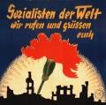 Mitgliederwerbung der Berliner SPD von 1947: Der zerstörten Stadtlandschaft entwächst eine leuchtend rote Nelke – das Sinnbild der internationalen Solidarität.<br> Bildrechte: AdsD