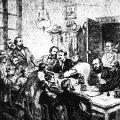 Die Folgen des gegen die Sozialdemokratie gerichteten Gesetzes: Polizeirazzia bei Wilhelm Liebknecht, einem der Gründerväter der SPD.
