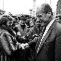 Brandt unterstützt die SPD im ersten gesamtdeutschen Wahlkampf nach der Vereinigung 1990.