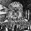 Zeichnung von 1868: 5. Vereinstag der Arbeiterbildungsvereine in Nürnberg.