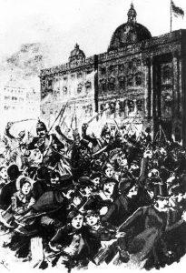 Für die Freiheit, gegen die Monarchie: Barrikadenkampf in Berlin im März 1848. Bildrechte: frei