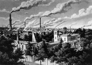 Rauchende Schlote in Berlin 1854: Mit der Industrialisierung verändert sich das Bild vieler Städte. Bildrechte: unbekannt
