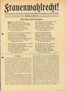 Frauen kämpfen schon seit dem 18. Jahrhundert für ihr Wahlrecht. Hier eine Schrift von Clara Zetkin, die am 8. März 1914 veröffentlicht wurde und... Bildrechte: AdsD