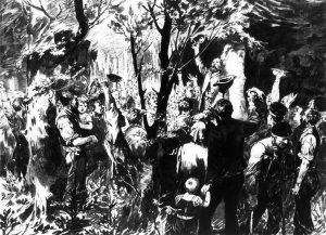 Die erste große Streikbewegung Europas formiert sich in den Jahren 1889/90, hier: ein Treffen streikender Bergleute des rheinisch-westfälischen Industriegebiets. Bildrechte: unbekannt