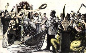 Eine um 1895 entstandene Karikatur wirbt für das Allgemeine Wahlrecht. Links neben der Freiheitsgöttin: Ferdinand Lassalle (stehend) und Karl Marx (sitzend). Bildrechte: unbekannt
